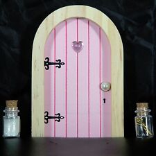 Pink Fairy Faerie Elf Door with Fairy Dust and Magic Key