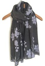 LADIES  DARK GREY WITH WHITE  FLORAL EMBROIDERED SCARF WRAP XMAS GIFT IDEA