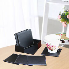 Set of 6pcs Black Office Desk Decor Meeting Cup Mat PU Leather Drink Tea Coaster