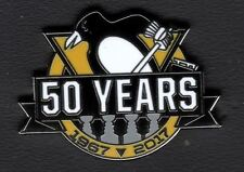 PITTSBURGH PENGUINS PIN 50 YEARS PUCK DESIGN NHL 4 TIME STANLEY CUP CHAMPIONS!!