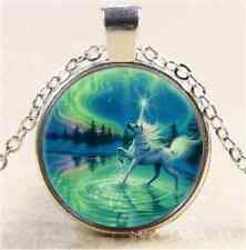 Psychedelic Unicorn Cabochon Glass Tibet Silver Chain Pendant  Necklace