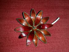 NORWAY STERLING ENAMEL RED FLOWER BROOCH PIN HROAR PRYDZ VERMEIL 925S GUILLOCHE
