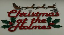 Christmas At The 'family Name' Personalised Handmade Wooden Plaque Hanging Sign
