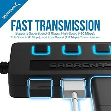 4-Port USB Hub, Individual Power Switches Accessories Computer Laptops Teens NEW