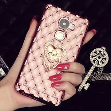 Fashion 3D Grid Bling Diamond Soft Gel Ring Holder Stand Case Cover For Phones