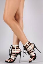 Strappy Caged Front lace open toe Stiletto High Heel Pumps Platform Sandals H150