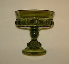 Vintage Pedestal Candy Dish Green Glass W/ Thumbprint Indent Footed Bowl Planter