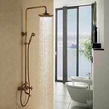 3 Holes Antique Brass Tub Shower System 8 inch Shower Head+ Hand Shower