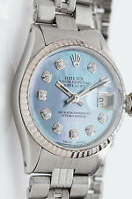 $7000 Blue MOP Diamond GENUINE Rolex Ladies 18k Gold SS Datejust Watch BOX WARR