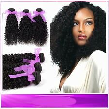 Weave 300g/3 Bundles Kinky Curly Human Hair Extensions Virgin Peruvian Hair Weft