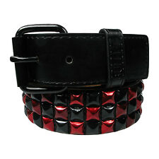 New Mens Womens Studded Metallic Pyramid Belt Removable Buckle