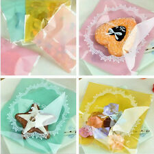 50 x 10cm*10cm Cookie Lace candy color self-adhesive plastic snack bags