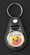 Abarth LLAVERO Estilo De Cuero Negro con logotipo Abarth (1028)