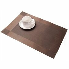 Set of 4 Placemat Vintage PVC Insulation Plaid Table Mats Pad Coaster Brown