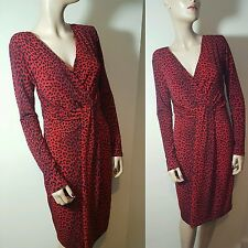Michael Kors Animal Print Matt Jersey Wrap Dress Red Black Leopard Size S 10 12