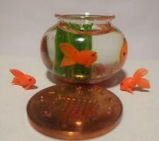 1:12 maison de poupées miniature poisson bol & 3 poisson rouge accessoire M2