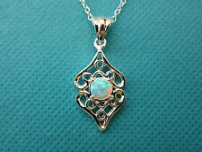"""925 Silver Pendant With Lab Created Blue Opal On A Silver 18"""" Chain (nk0724)"""
