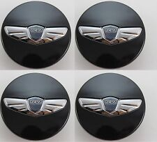 HYUNDAI GENESIS COUPE FRONT REAR BLACK WING EMBLEM WHEEL CAP SETBLACK