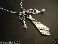 "Fifty Shades Inspired Crystal Tie Multi Charms 24"" Neckace GIFT Elizabeth*SRAJD"