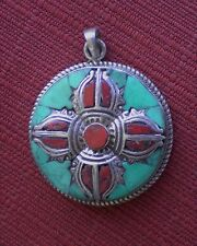 Tibetan Pendant w/ Turquoise Coral 925 Sterling Silver Double Dorje Motif