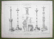 ARCHITECTURE PRINT : ITALY Messina Venice Church Furniture Candelabra Desks