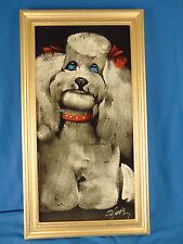Vintage signed painting dog on velvet puppy canine framed animal art poodle