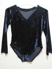 Vtg CRUSHED VELVET Black Spandex italian  DANCE Snap crotch LEOTARD BODYSUIT M