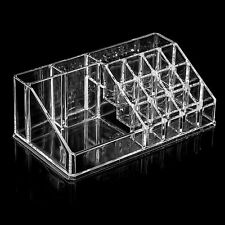 ACRYLIC CLEAR 16 COMPARTMENTS LIP STICK MAKE UP BRUSHES COSMETIC ORGANISER CASE