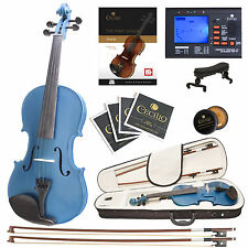 Cecilio 4/4 Ebony Fitted Solidwood Violin Metallic Blue +Tuner+Book/Audio/Video