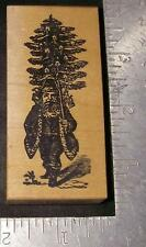 Granny Moon ~ Old World Santa Claus with Christmas Tree ~ Mounted Rubber Stamp