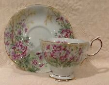 "Vintage Royal Albert Fine Bone China ""Wild Geranium"" Cup & Saucer England"