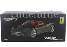 Hot Wheels Elite Ferrari 458 Italia Spider 1:43 Diecast Matte Black W1184