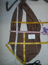 6 Shore Road by Pooja Cabana One Piece Cross Halter Swimsuit Shimmer Nude L-NWOT