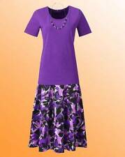 LADIES Skirt Set  With T-Shirt & Necklace - COTTON - MAGENTA - UK Size 12-NEW