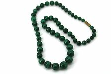 Vintage German Round Glass Bead Green Striated Strand Necklace Barrel Clasp