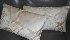 Throw pillows Designers Guild textured beige ivory cut velvet custom new PAIR