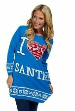 I LOVE SANTA Women's UK 12 - 14 Sky Blue Red White Christmas Xmas Long Jumper