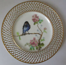 ANTIQUE FISCHER & MIEG PIRKENHAMMER BOHEMIA RETICULATED PLATE W/BIRDS & FLOWERS