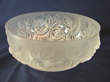 Old Verlys Satin Frosted Rose Embossed 5in Bowl, with Tiny Top Rim Chip, VNice