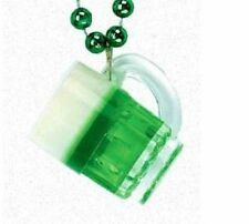 Green Beer Foamy Mug St Patrick's Day Mardi Gras Bead Beads Necklace