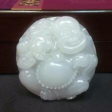 Carved chinese Laughing Buddha white jade Good luck jade amulet pendant