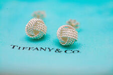 TIFFANY & CO 925 Sterling Silver Twist Knot Mesh Stud Earrings - Pouch Included!