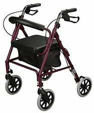 Burgundy Rollator Walker Rolling Cart Red Mobility Aid, 300 lb. Weight Capacity