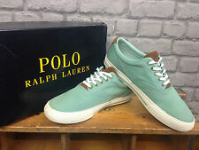 RALPH LAUREN POLO MENS UK 7 EU 41 VAUGHN LIGHT GREEN CANVAS TRAINERS RRP £75