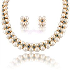 2 layers pearl Austrian crystal choker necklace earring jewelry set gift N759