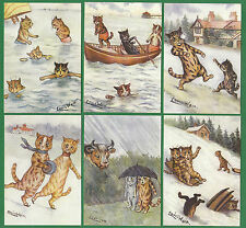 CATS -  CRYSTAL CAT CARDS -  SET OF 6 LOUIS WAIN CAT CARDS - OUT IN ALL WEATHERS