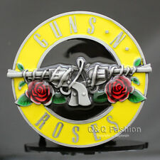 Western Silver & Yellow Gun Revolver Rose Flower Enamel Tattoo Belt Buckle H6