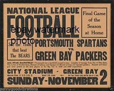 PORTSMOUTH OHIO SPARTANS vs GREEN BAY PACKERS NFL FOOTBALL FLYER HAND BILL