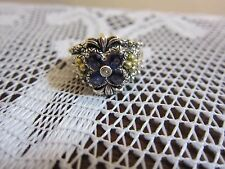 BARBARA BIXBY FLOWER IOLITE TOPAZ RING STERLING & 18K GOLD SIZE 10 JEZZABEL NEW