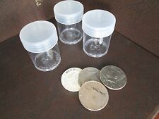 (3) Round Clear Plastic (Half Dollar) Size Coin Storage Tube Holders w/Screw Lid
